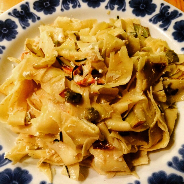 Pasta with Chloe the crab, artichoke and saffron