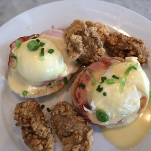 The amazing poached egg with fried oysters  at Stanleys in Jackson Square