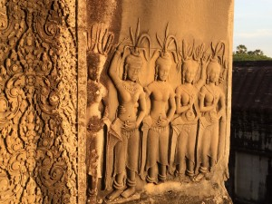 Some of the carvings in the dawn light at Angkor Wat
