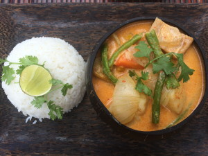 Lovely red curry from The Secret Garden at Otres Beach, Cambodia