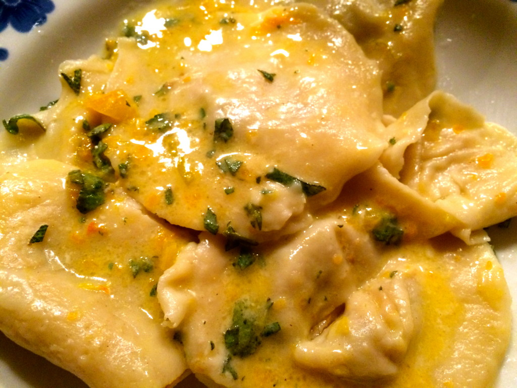 Spicy pumpkin ravioli